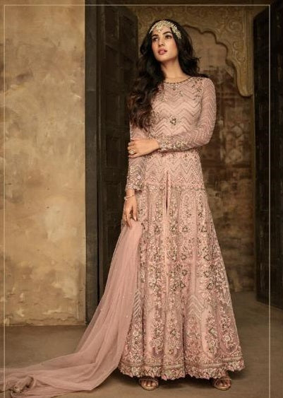 PINK EMBROIDERED PANT STYLE ANARKALI