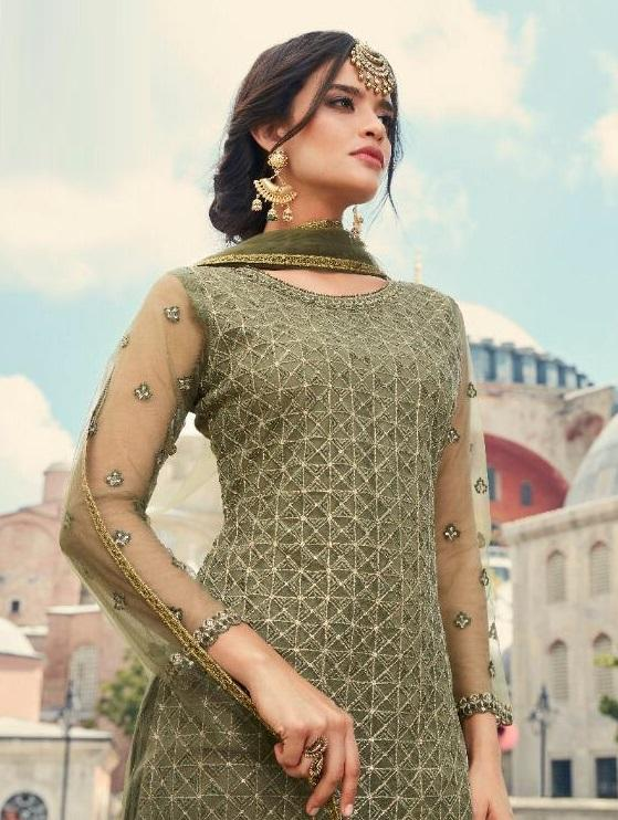 DUSTY GREEN EMBROIDERED GHARARA SUIT