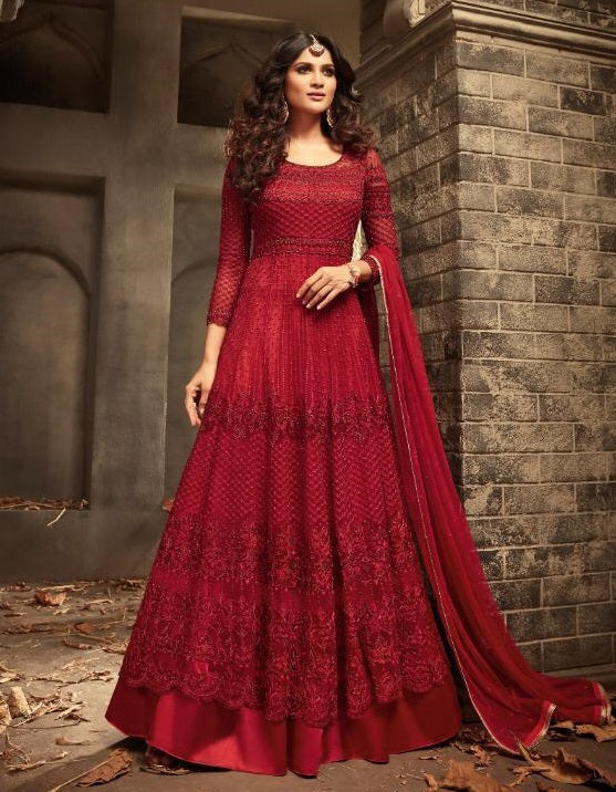 RED EMBROIDERED FLOOR LENGTH ANARKALI