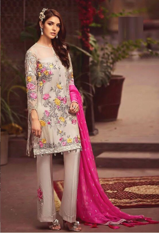 LIGHT GREY AND PINK EMBROIDERED PAKISTANI STYLE SUIT