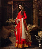 RED AND OFFWHITE EMBROIDERED ANARKALI
