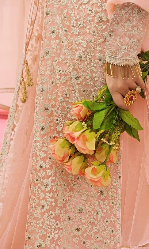 Light Peach Embroidered Lehenga Anarkali
