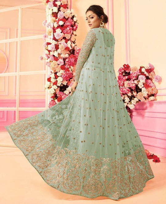 Light Blue Embroidered Jacket Style Anarkali