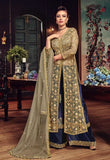 Gold and Blue Embroidered Palazzo Suit