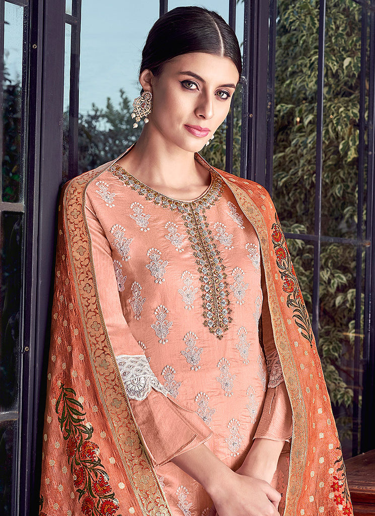 Light Peach and White Embroidered Gharara Suit