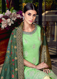 Green and Cream Embroidered Palazzo Suit