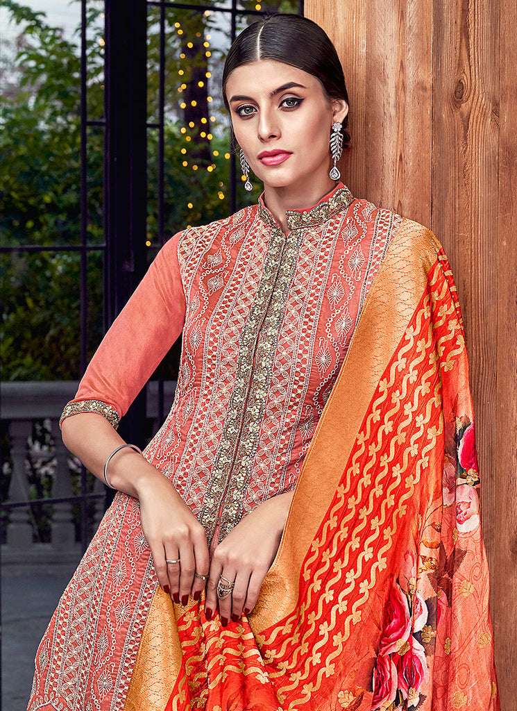 Red Muticolor Embroidered Suit