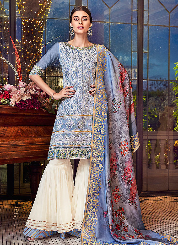 Blue and White Embroidered Gharara Suit