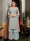 Sky Blue and Pink Embroidered Palazzo Suit