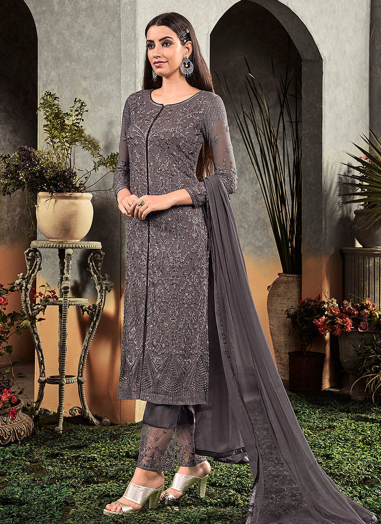 Dark Grey Embroidered Straight Pant Suit