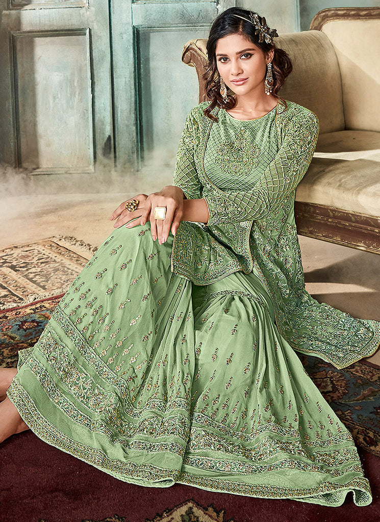Green Heavy Embroidered Gharara Suit