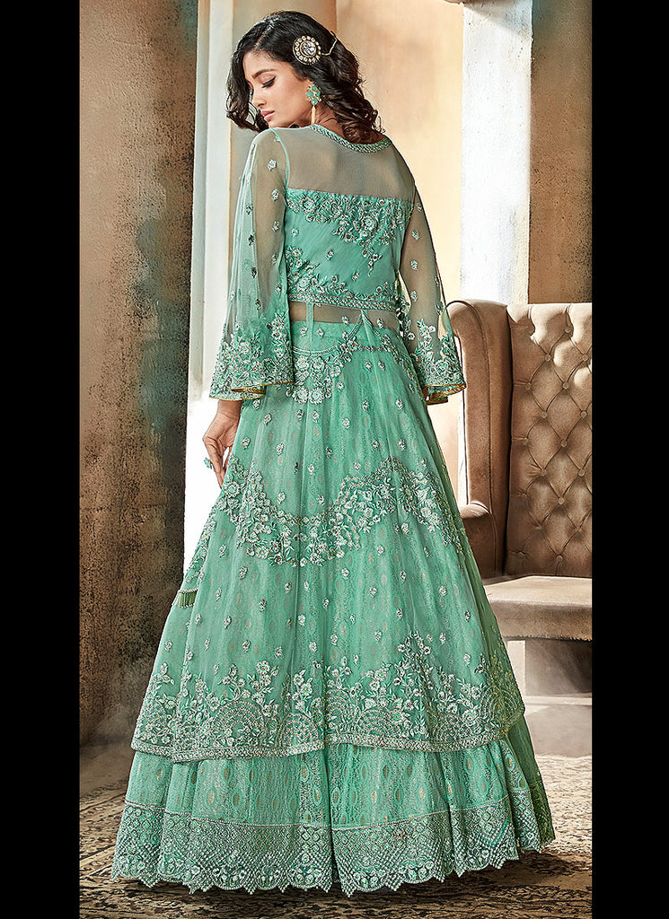 Light Green Embroidered Lehenga/ Gharara Suit