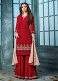 Red Embroidered Gharara Suit