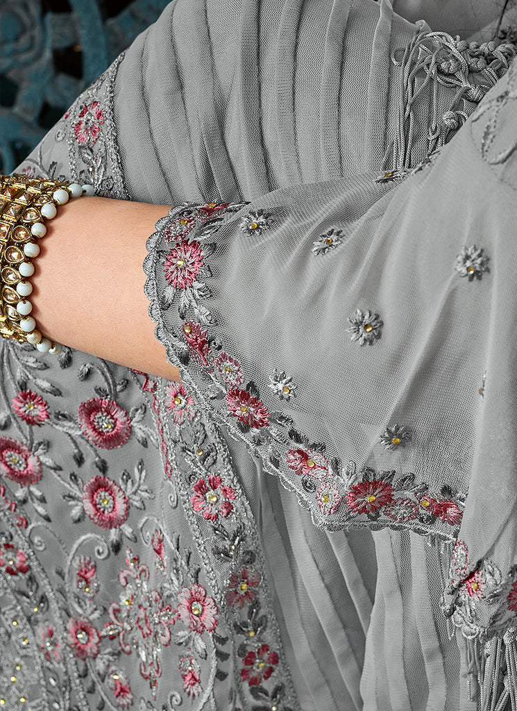 Grey Floral Embroidered Straight Pant Suit