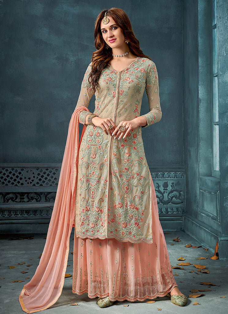 Green and Peach Embroidered Palazzo Suit