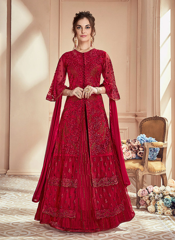 Red Embroidered Lehenga/ Palazzo Suit