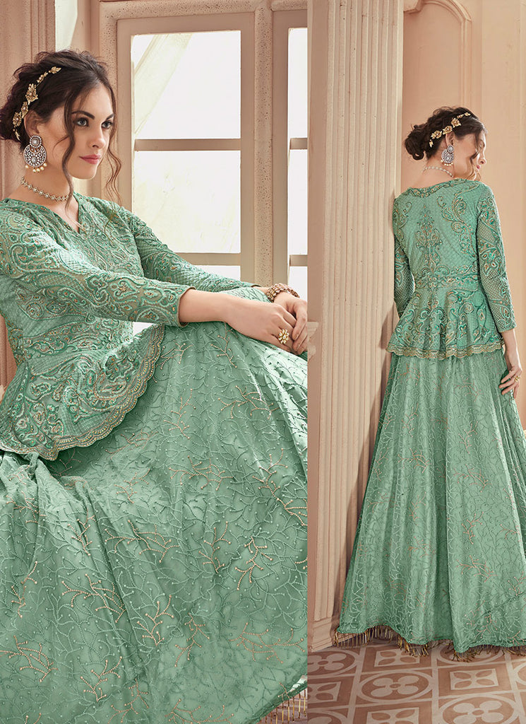 Sea Green Embroidered Lehenga/ Gharara Suit