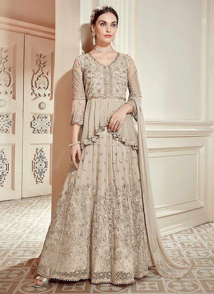 Light Grey Heavy Embroidered Anarkali Gown