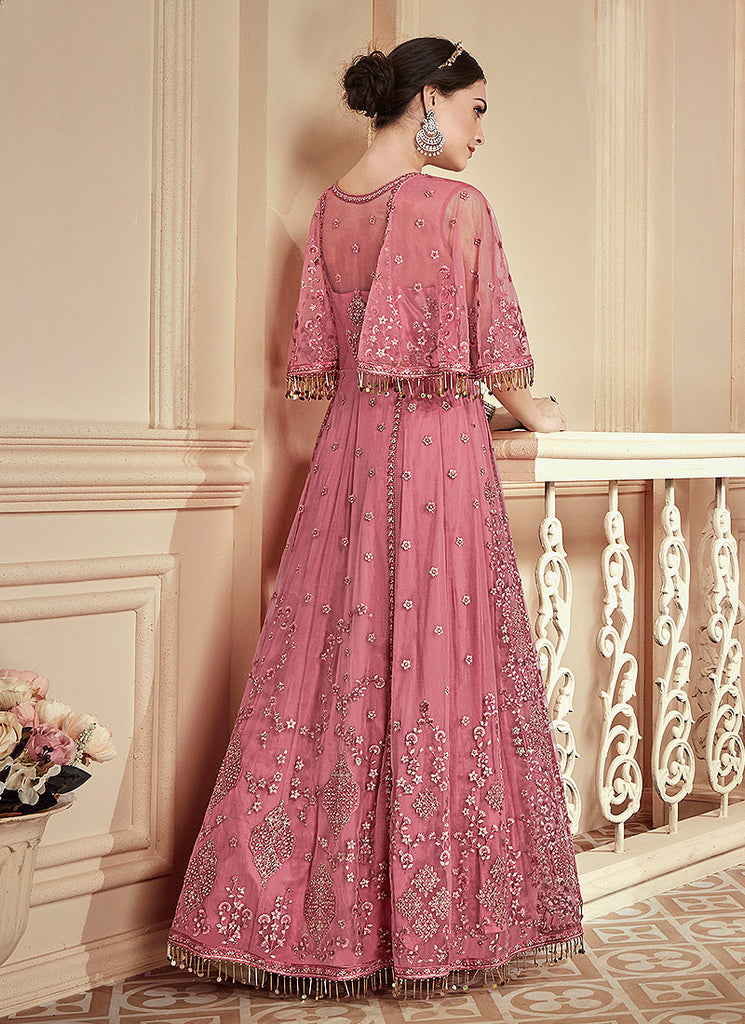 Pink Heavy Embroidered Anarkali Gown