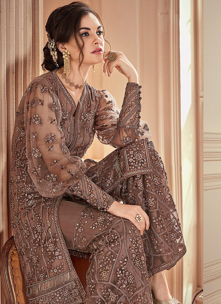 Brown Heavy Embroidered Gharara Suit