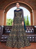 Dark Blue and Gold Embroidered Anarkali
