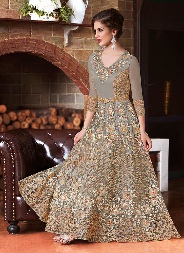 Grey and Gold Embroidered Anarkali