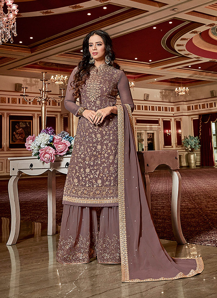 Mauve and Gold Embroidered Gharara Suit