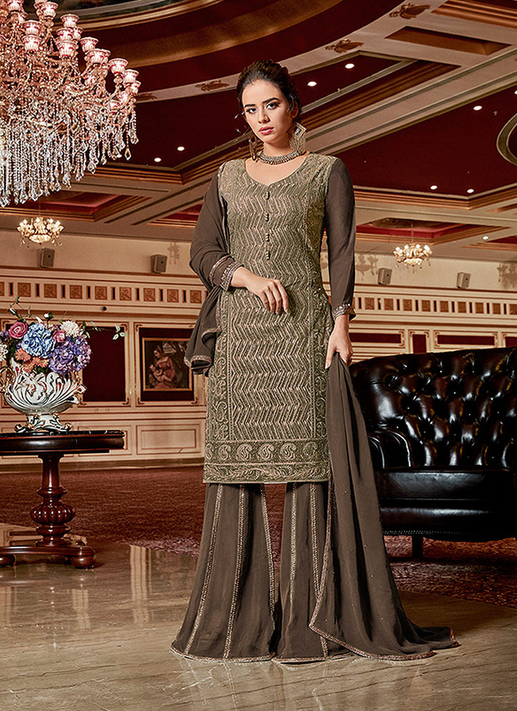 Green and Brown Embroidered Gharara Suit