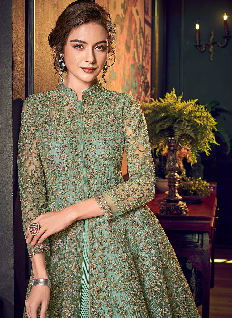 Mint Green Embroidered Jacket style Anarkali