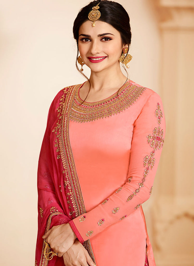 Peach and Pink Embroidered Lehenga / Palazzo Suit