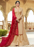Light Beige and Red Embroidered Lehenga / Palazzo Suit