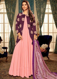 Beautiful Pink And Purple Party Wear Readymade Gown