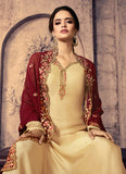 Cream and Red Embroidered Palazzo Suit