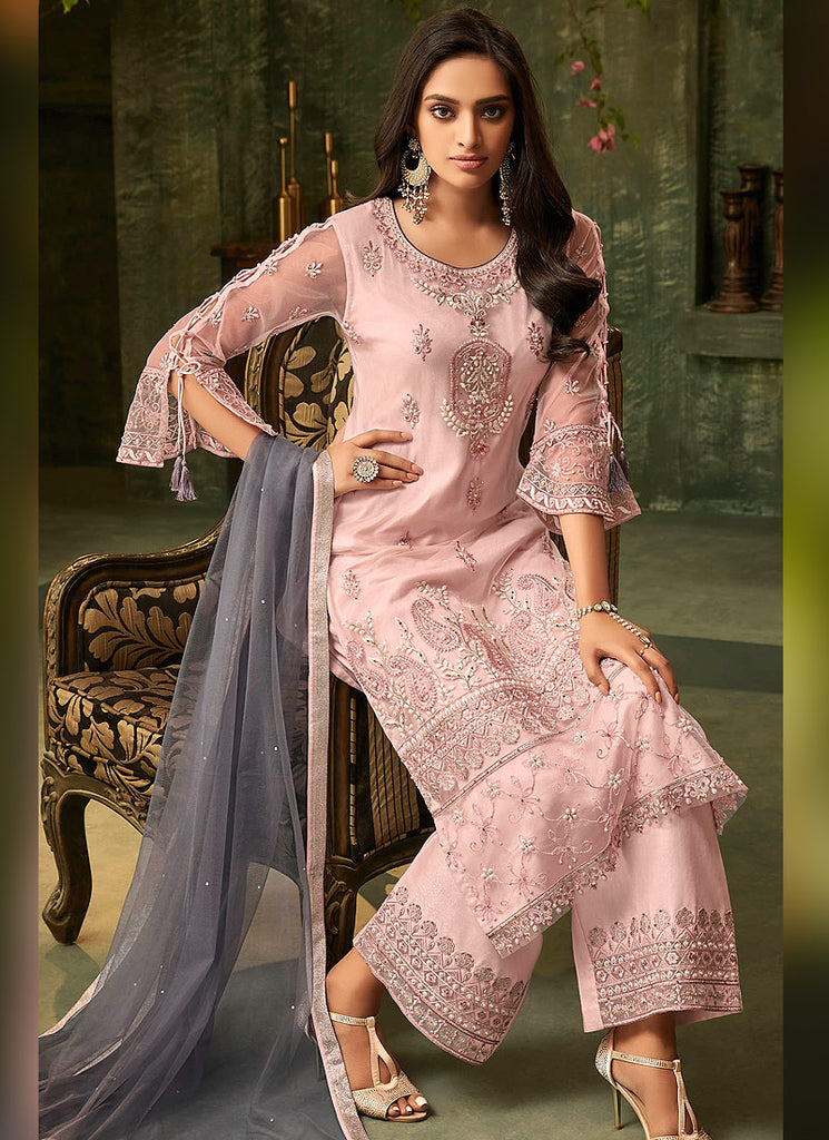 Light Pink Embroidered Pant Style Suit