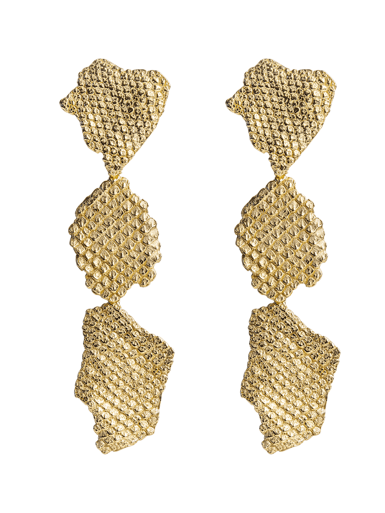 LARGE IGUANA DROP EARRINGS GOLD