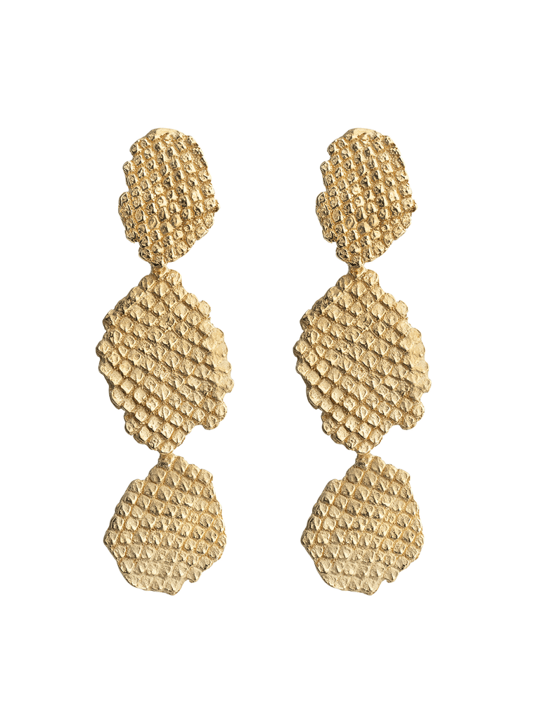 SMALL IGUANA DROP EARRINGS GOLD