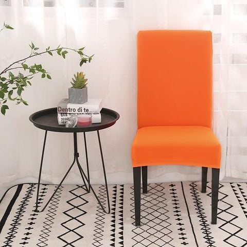 HOUSSE DE CHAISE UNIE - ORANGE