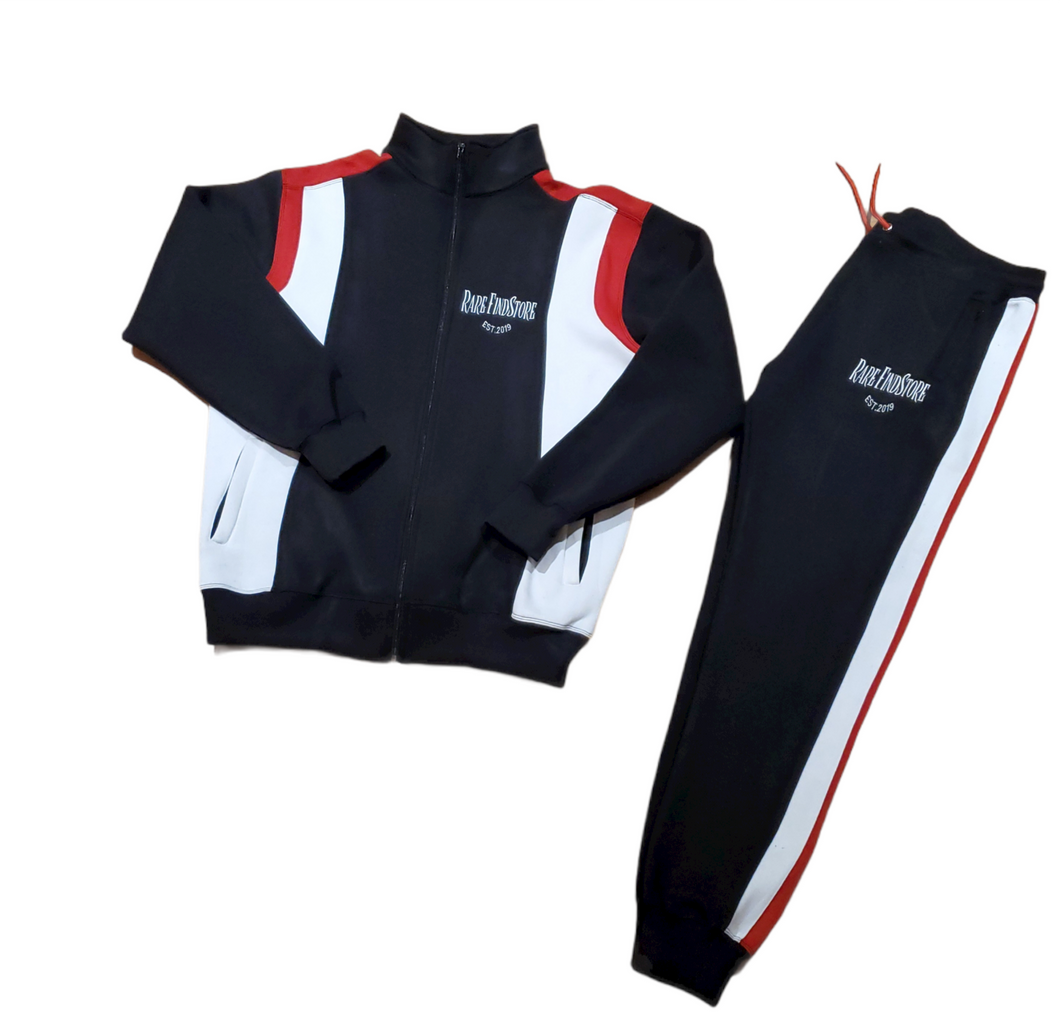 Black, White, and Red Logo Zip Up Jogging Suit