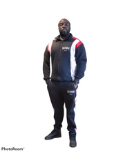 Load image into Gallery viewer, Black, White, and Red Logo Zip Up Jogging Suit