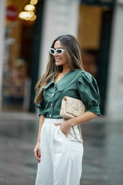 GREEN BALLOON SLEEVE BLOUSE