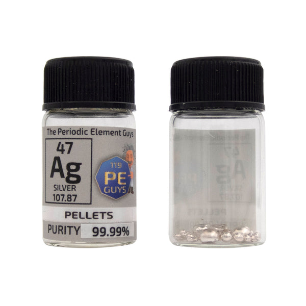 Silver Metal Element Sample -  5g Pellets - Purity: 99.99% - The Periodic Element Guys