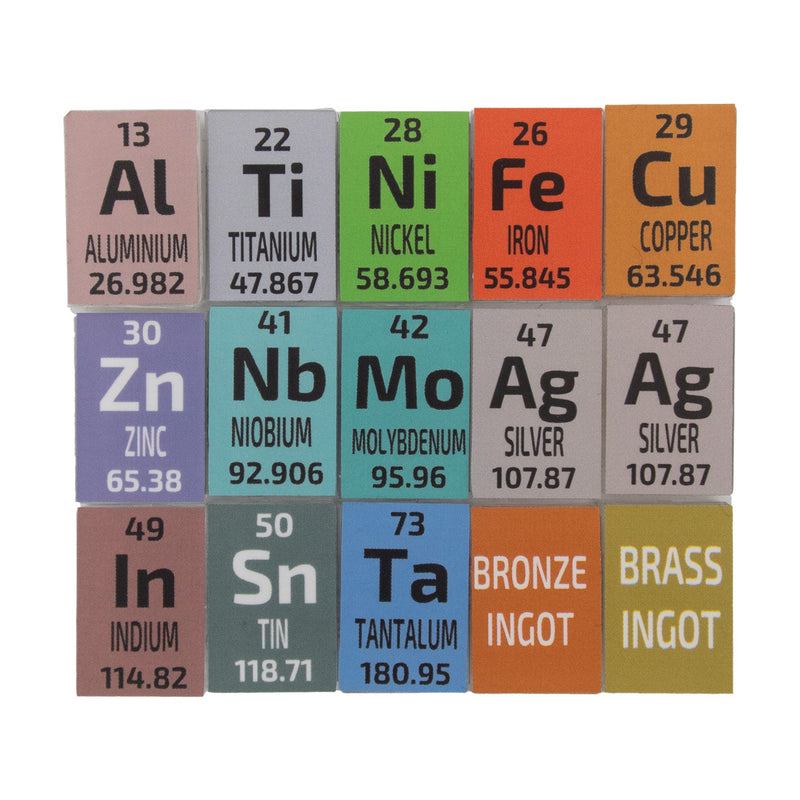 15 x 1 Gram Periodic Element Metal Ingots SILVER x 2, Tantalum, Indium, Niobium - The Periodic Element Guys