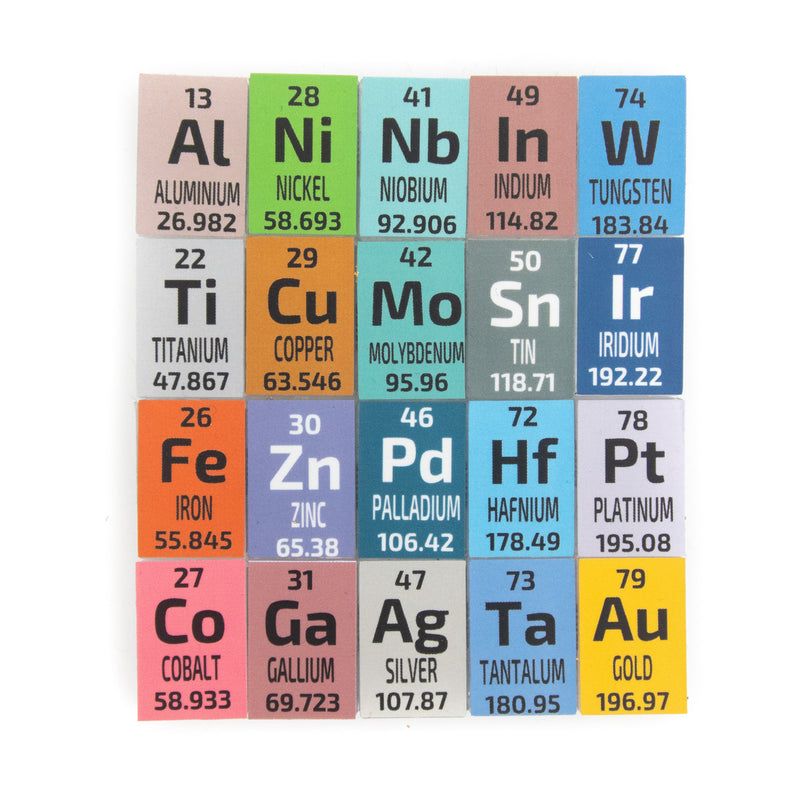 The 20 Elements Metal Wire Set in PEGUYS Periodic Element Tiles - The Periodic Element Guys