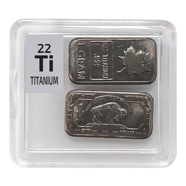 Titanium Ingots 2 x 1 gram Periodic Element Tile - The Periodic Element Guys