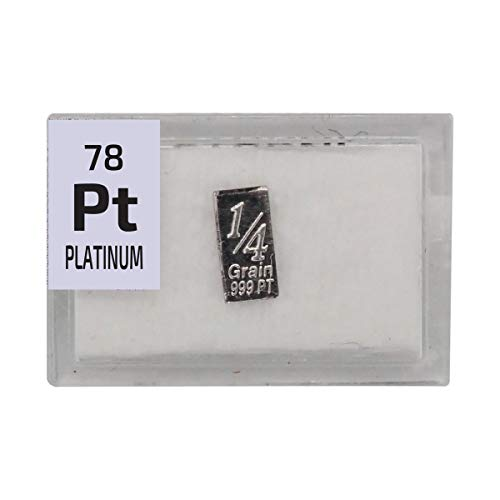 Platinum Bar Ingot(1/4 Grain), 99.9% Pure Element Sample in a PEGUYS Periodic Element Tile. - The Periodic Element Guys