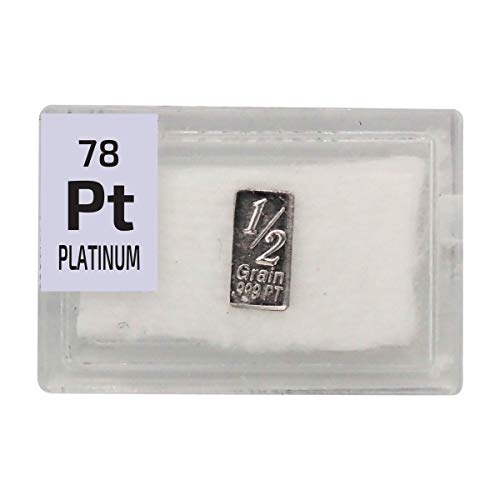 Platinum Bar Ingot(1/2 Grain), 99.9% Pure Element Sample in a PEGUYS Periodic Element Tile. - The Periodic Element Guys