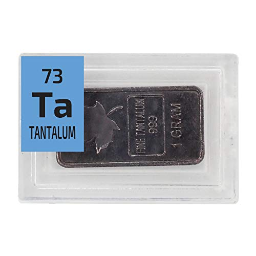 Tantalum Metal Bar\Ingot 1 Gram Maple Leaf .999 Pure in a PEGUYS Periodic Element Tile. - The Periodic Element Guys