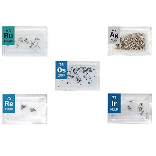PEGUYS Metal Crystals Set- Ruthenium,Osmium,Rhenium,Silver,Iridium 5 x Rare Periodic Element Tiles - The Periodic Element Guys
