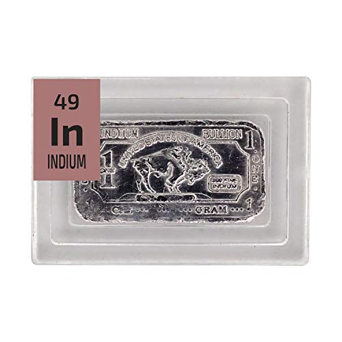 Indium Metal Bullion Bar - 1g Ingot - Purity: 99.99% - The Periodic Element Guys
