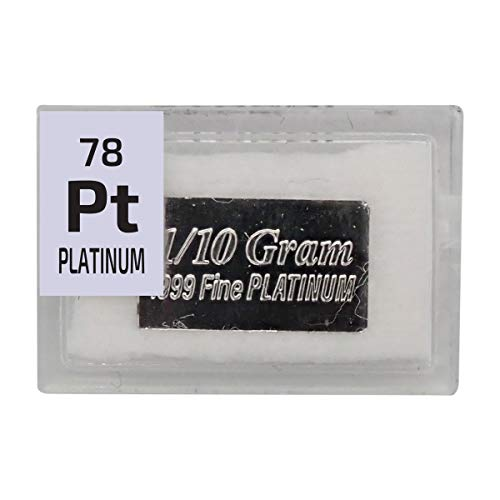 Platinum Bar Ingot(1/10 of a Gram), 99.9% Pure Element Sample in a PEGUYS Periodic Element Tile. - The Periodic Element Guys